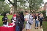 Students tabling for career center on east quad