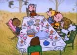 charlie brown celebrating thanksgiving outside