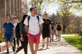 Students walking on the academic quad