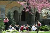 Students sitting on the academic quad in the spring