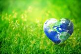 Heart shaped earth floating in grass
