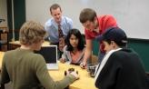 Students studying robotics
