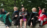 Kristen Ago '19 with her professors at Graduation