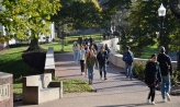 Student walking on Chapel Walk