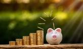 Coins going into piggy bank