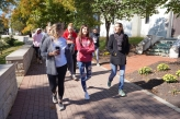 """Students participate in a """"Wellness Walk"""" during Mindfulness Day"""