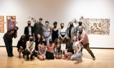 Group photo of studio art majors and faculty