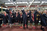 Denison students graduation in cap and gown