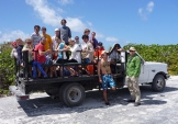 In a truck on San Salvador Island