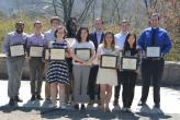 denison students posed with awards