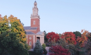 Swasey Chapel in the fall, with red tree colors