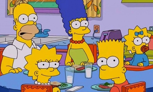 the Simpsons eating dinner