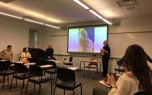 Jude Talliechet presenting to art history class