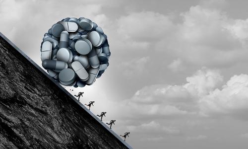snowball of pills chasing humans