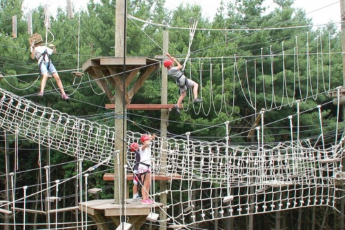 Students on a high ropes course