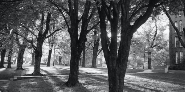 Black and white photo of campus