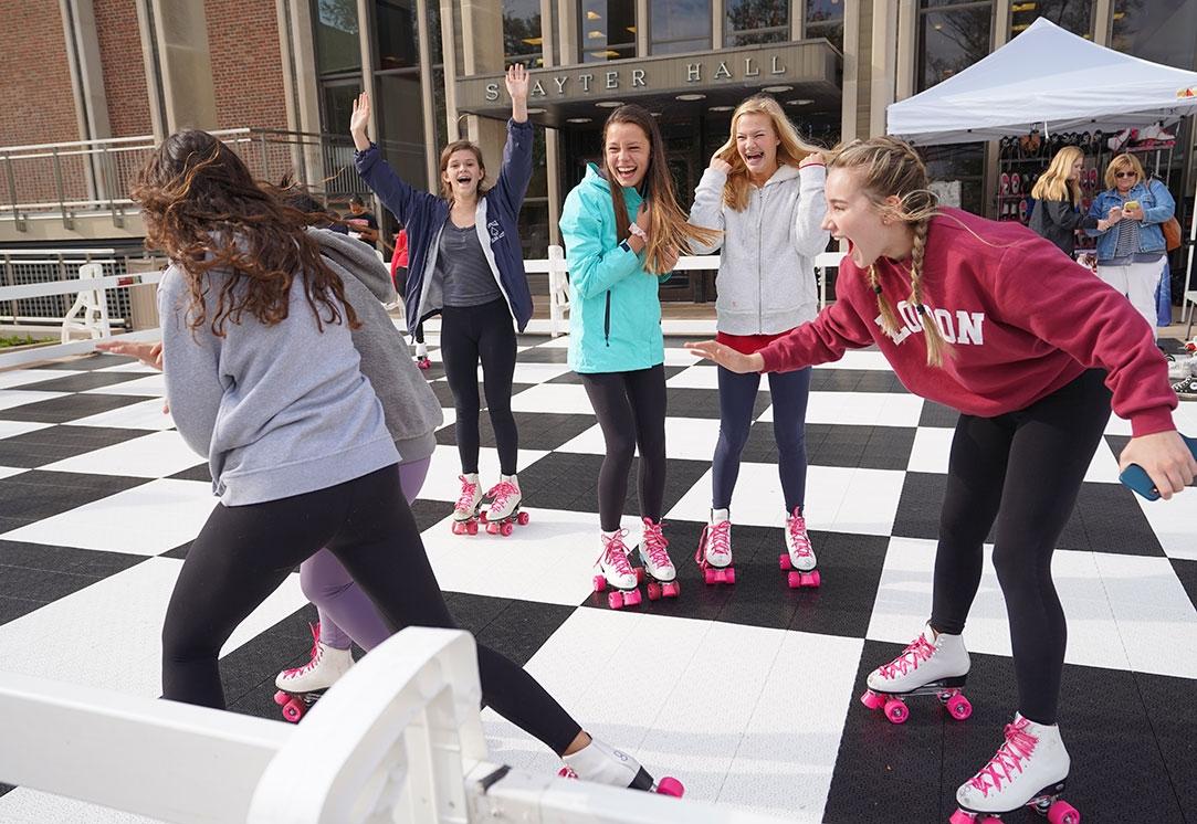 Students roller skating