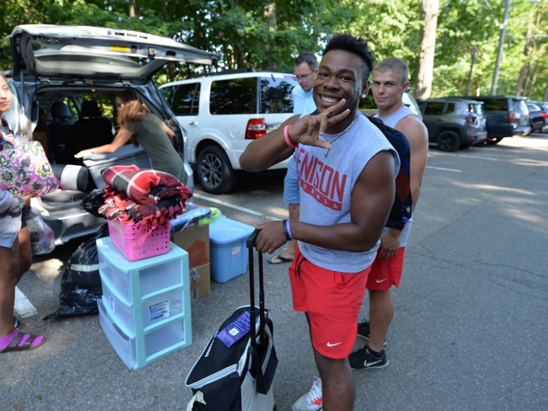 Student on move-in day