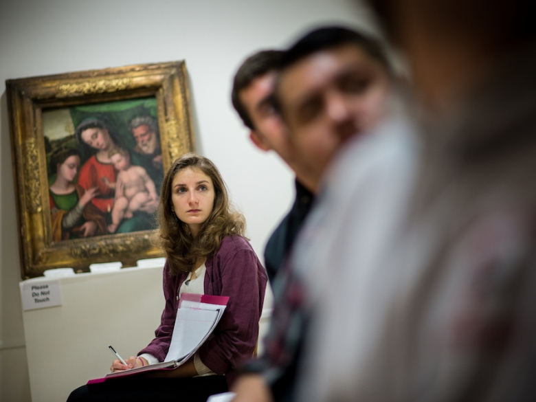 Art History students listening