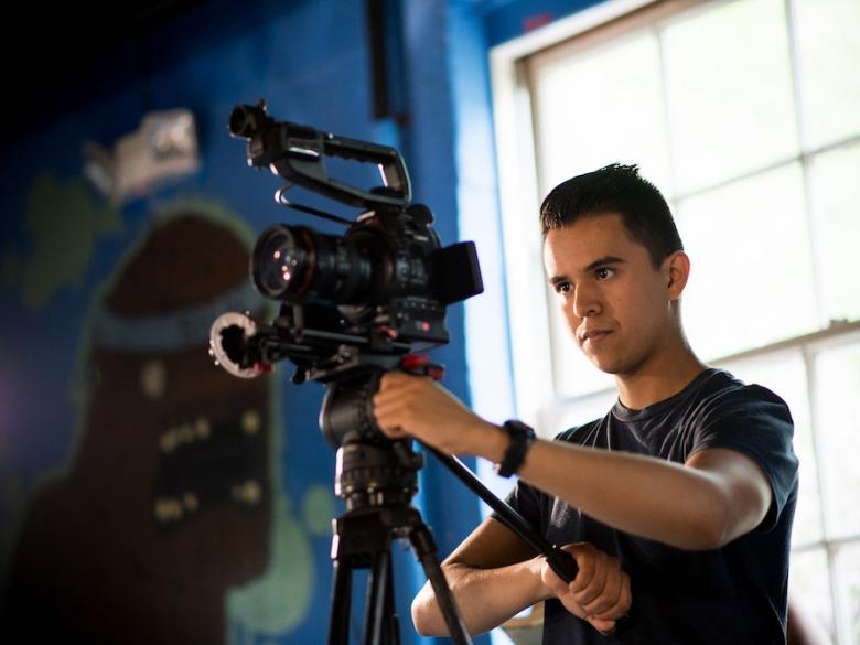 Cinema student filming a scene