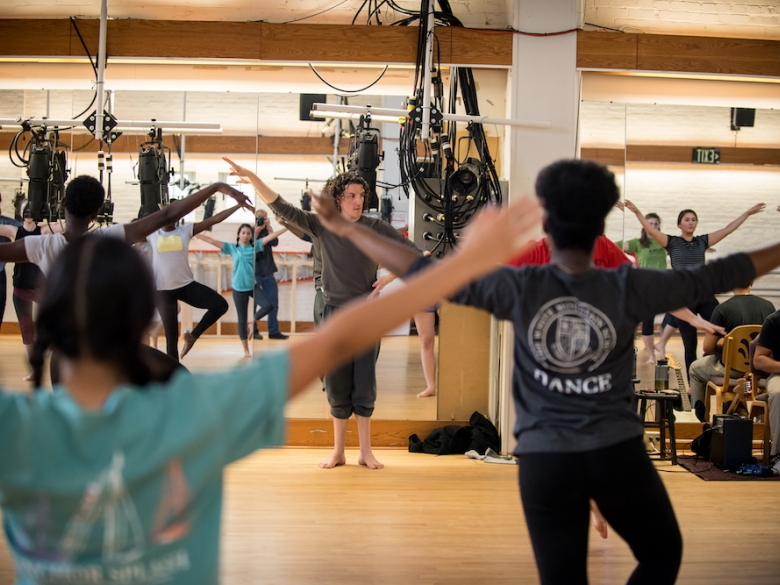 Dance students in class