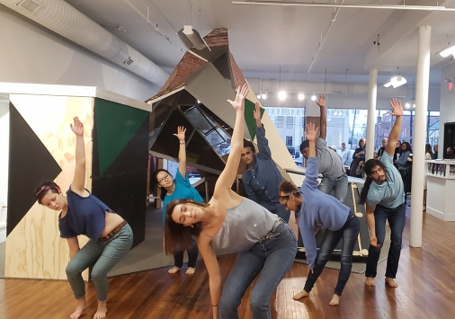 Dancers in front of exhibition