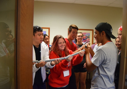 Students participating in an activity at DU Lead