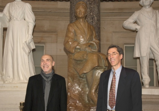 Eugene Daub (left) and Rob Firmin '70 (right) with their bronze sculpture of Rosa Parks at the unveiling in National Statuary Hall. Photo credit: Office of the Architect of the Capitol.