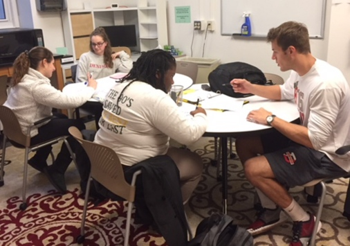 Students in the tutoring center