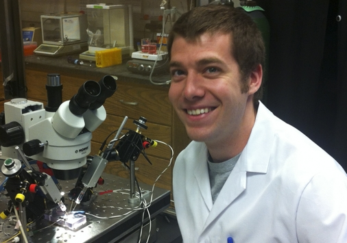 Adam Van Dyke, '08, in the lab.