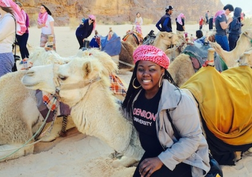 Keylee Jones with camel