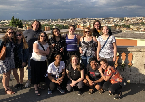 Denison students and faculty take in a view of Rome