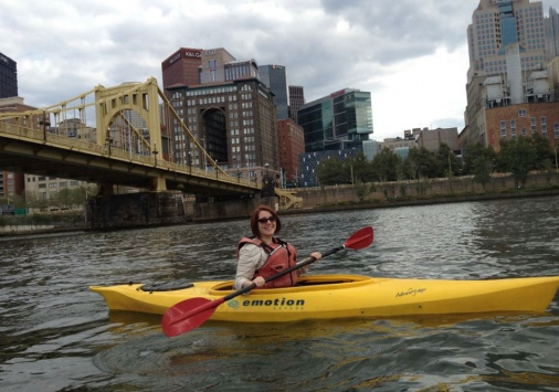 Kimberly Creasap kayaking in Pittsburgh