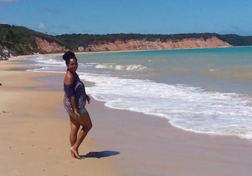 Michelle Agunloye on the beach