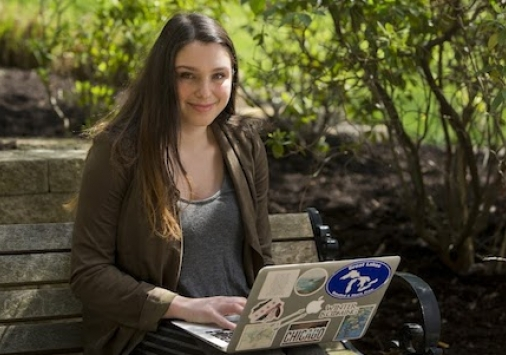 Lauren Schechtman Communication Major on Laptop