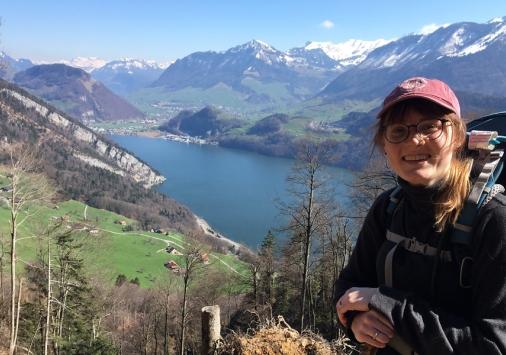 Rachel Abbott '19 backpacking in the Swiss Alps.