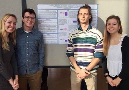 Psychology researchers Marcos Arnett '20, Hope Cherubini '21, Andrew Kopco '20, and Anna Stone '21