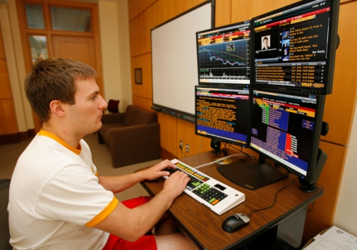 A Bloomberg terminal in use.