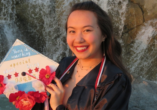 Alina Panek '20 at her virtual Conferral of Degrees