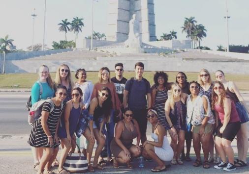 Students at Jose Marti memorial