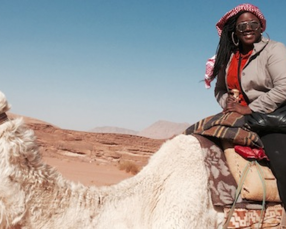 Keylee Jones sitting on camel