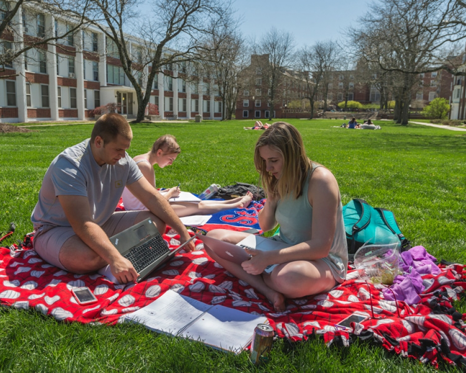Students study on East Quad
