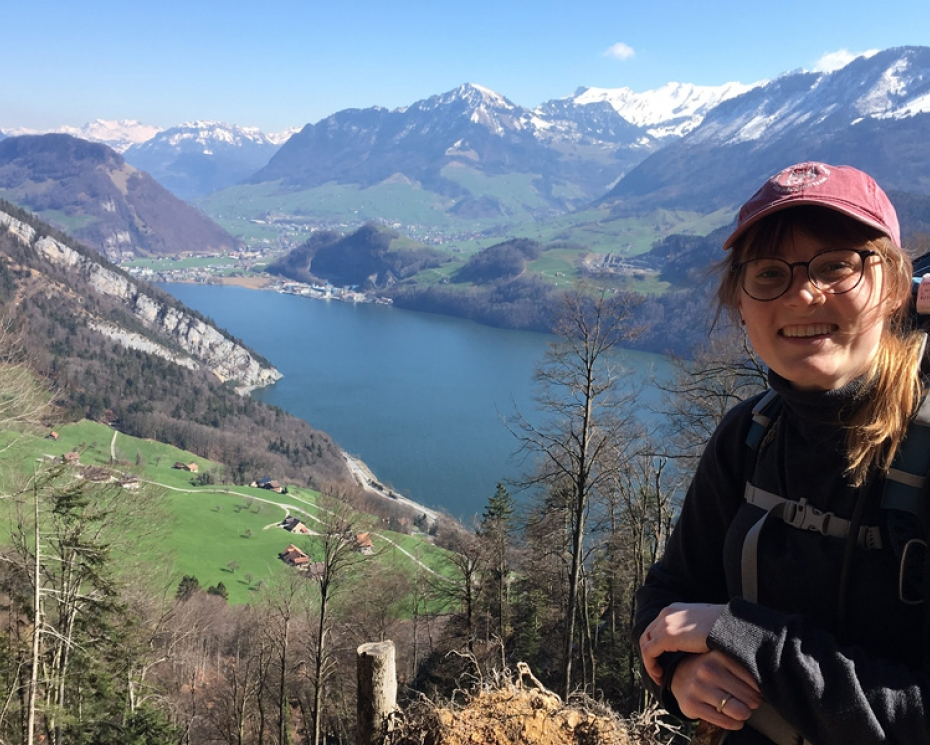 Rachel Abbott '19 backpacking in the Swiss Alps.