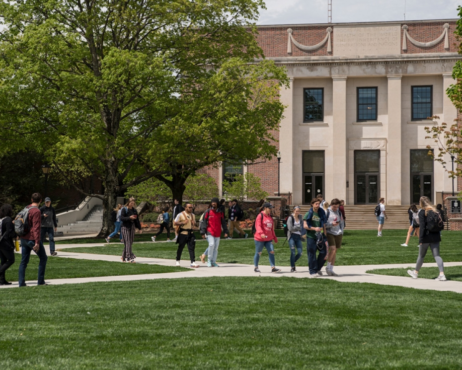 Denison students on the academic quad