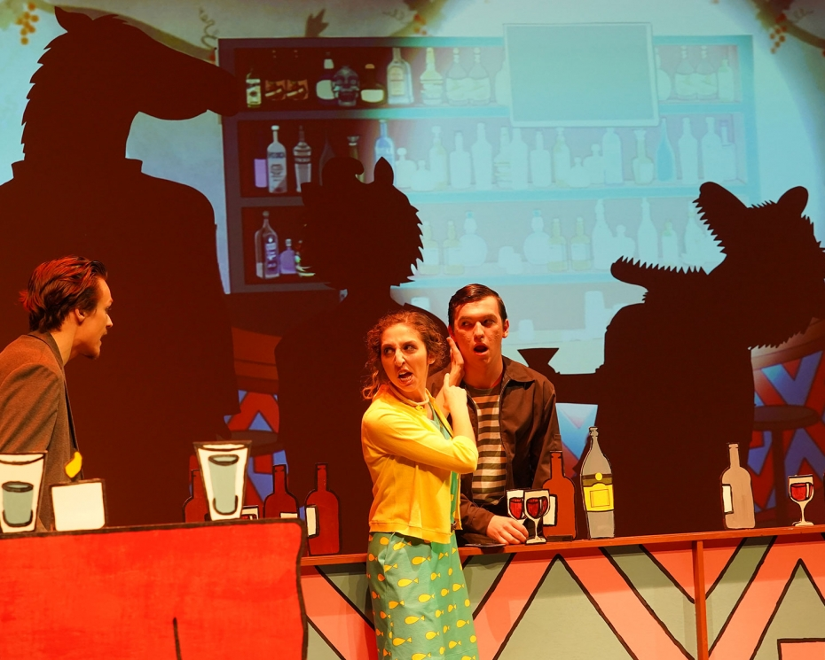 Denison students on the stage of 'BoJack Horseman'
