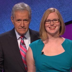 Host Alex Trebek with Kristin Hamlin Sausville '02 in March 2015.