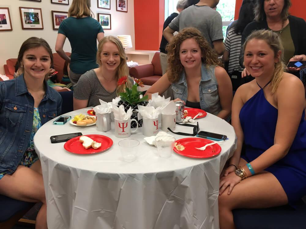 Psychology Psi Chi awards students at table