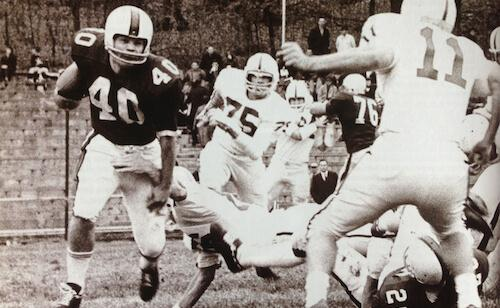 Tony Hall black and white playing college football
