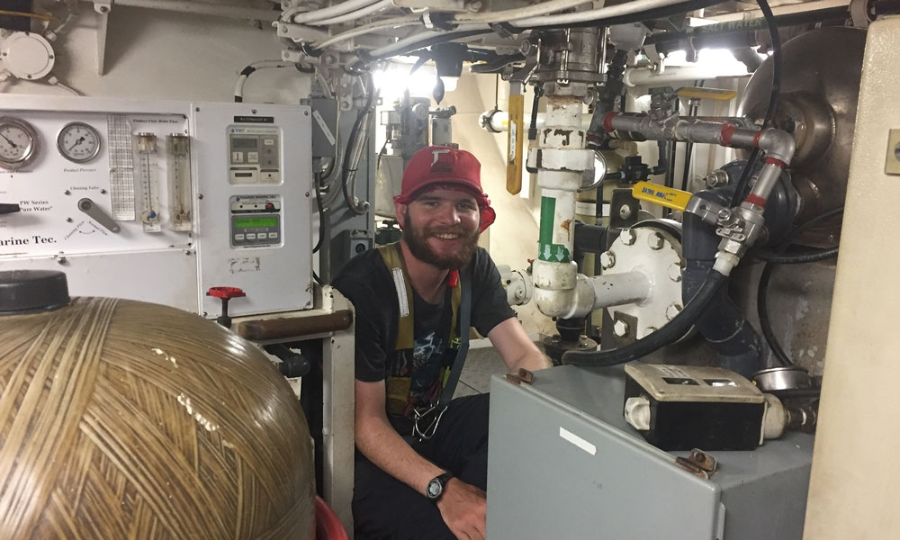 Elliot Hayne aboard the SSV Robert C. Seamans
