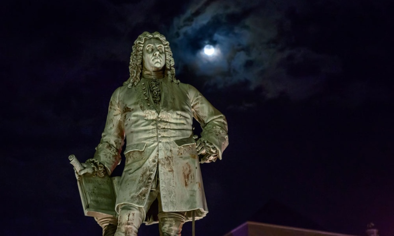 Monument to George Frideric Handel in Halle, Germany at night